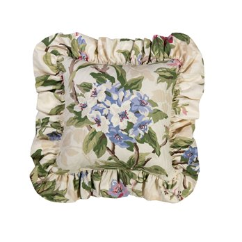 "Hillhouse Square Pillow - Floral 14"" Ruffled"