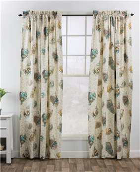 "Seaside Treasures Caribbean 100"" x 84"" (Pr) Rod Pocket Curtains"