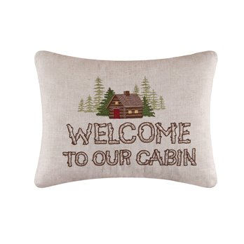 Welcome to Our Cabin Embroidered Pillow