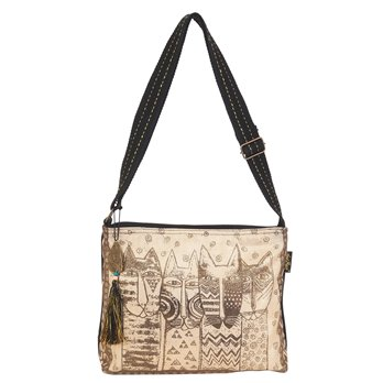 Laurel Burch Wild Cats Family Stamp Pattern Crossbody Bag