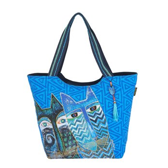 Laurel Burch Blue Cats Large Scoop Tote