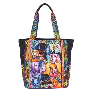Laurel Burch Canine Clan Stacked Large Shoulder Tote