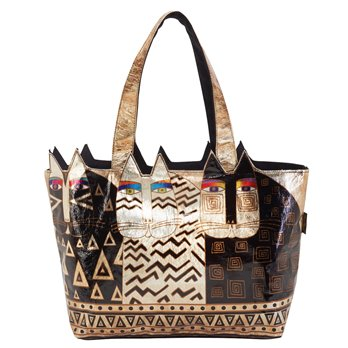 Laurel Burch Wild Cats Large Foiled Cut Out Tote