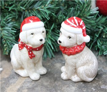 Ceramic Winter Pups Salt & Pepper Set