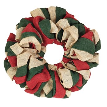 Red, Natural and Green Burlap Wreath 15