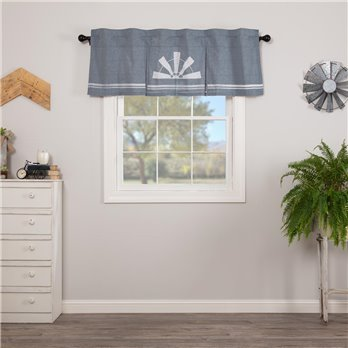 Sawyer Mill Blue Windmill Valance Pleated 20x60