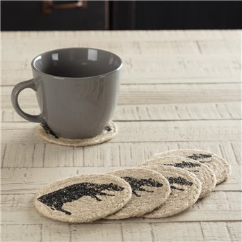 Sawyer Mill Charcoal Cow Jute Coaster Set of 6