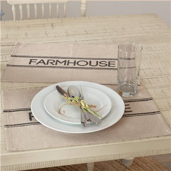 Sawyer Mill Charcoal Farmhouse Placemat Set of 6 12x18