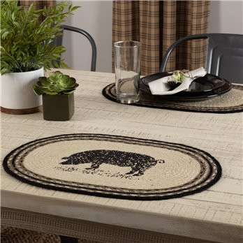 Sawyer Mill Charcoal Pig Jute Placemat Set of 6 12x18