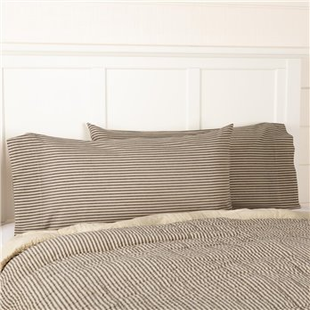 Sawyer Mill Charcoal Ticking Stripe King Pillow Case Set of 2 21x40