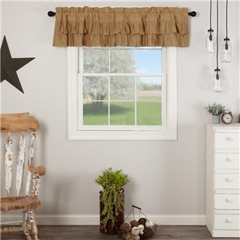 Simple Life Flax Khaki Ruffled Valance 16x72