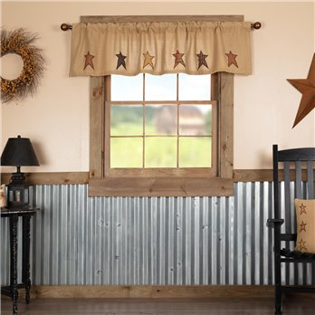 Stratton Burlap Applique Star Valance 16x72