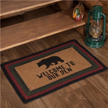 Wyatt Stenciled Bear Jute Rug Rect Welcome to Our Den 20x30
