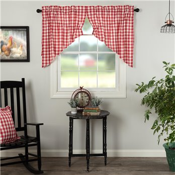 Annie Buffalo Red Check Prairie Swag Set of 2 36x36x18