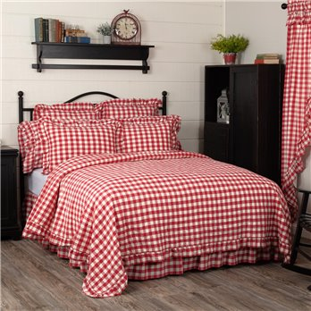 Annie Buffalo Red Check Ruffled Queen Quilt Coverlet 90Wx90L