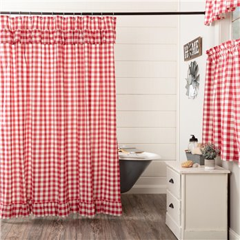 Annie Buffalo Red Check Ruffled Shower Curtain 72x72