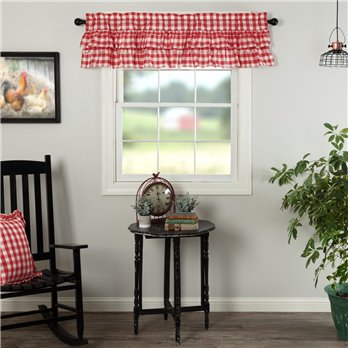 Annie Buffalo Red Check Ruffled Valance 16x60