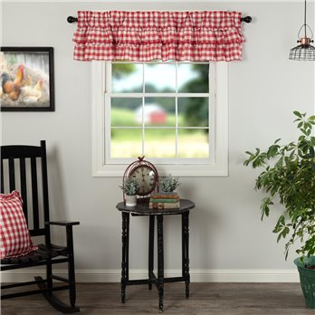 Annie Buffalo Red Check Ruffled Valance 16x72