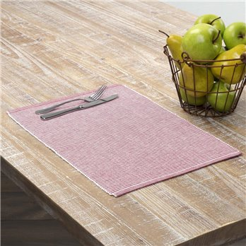 Ashton Red Ribbed Placemat Set of 6 12x18