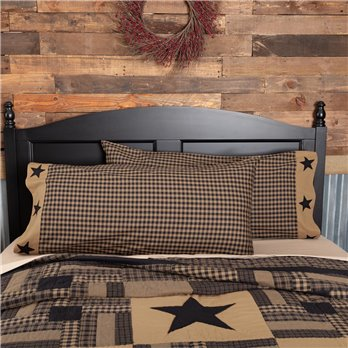 Black Check Star King Pillow Case Set of 2 21x40