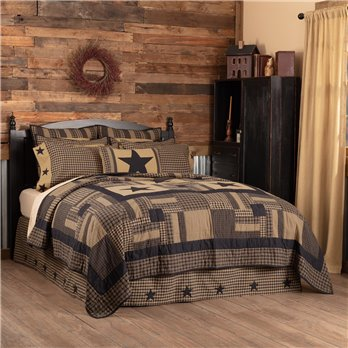 Black Check Star Twin Quilt 68Wx86L