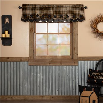 Black Star Scalloped Layered Valance 16x60