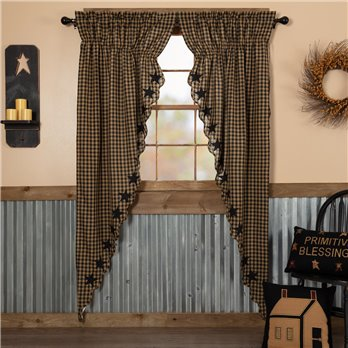 Black Star Scalloped Prairie Long Panel Set of 2 84x36x18