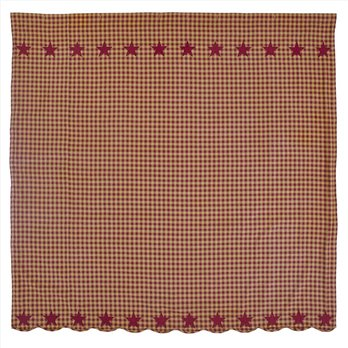 Burgundy Star Scalloped Shower Curtain 72x72