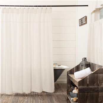 Burlap Antique White Shower Curtain 72x72