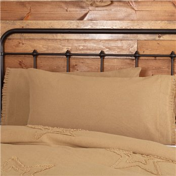 Burlap Natural King Pillow Case w/ Fringed Ruffle Set of 2 21x40