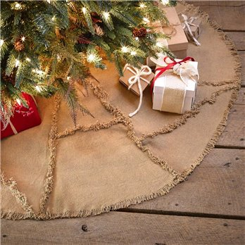 Burlap Natural Reverse Seam Tree Skirt 48