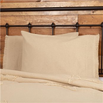Burlap Vintage Standard Pillow Case w/ Fringed Ruffle Set of 2 21x30