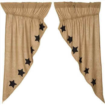 Burlap w/Black Stencil Stars Prairie Short Panel Set of 2 63x36x18