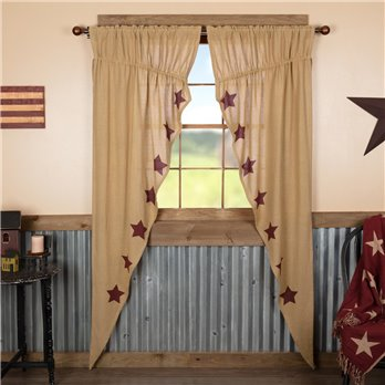 Burlap W/Burgundy Stencil Stars Prairie Long Panel Set of 2 84x36x18