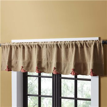 Burlap w/Red Check Scalloped Valance 16x72
