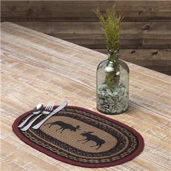 Cumberland Stenciled Moose Jute Placemat Set of 6 12x18