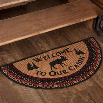 Cumberland Stenciled Moose Jute Rug Half Circle Welcome to the Cabin 16.5x33