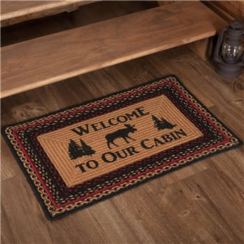 Cumberland Stenciled Moose Jute Rug Rect Welcome to the Cabin 20x30