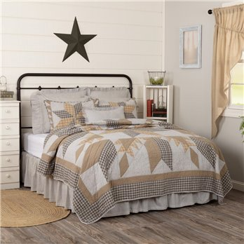 Dakota Star Farmhouse Blue Luxury King Quilt 120Wx105L