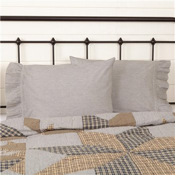Dakota Star Farmhouse Blue Ticking Stripe Standard Pillow Case Set of 2 21x30