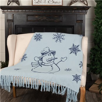 Happy Snowman Navy on Blue Woven Throw 60x50