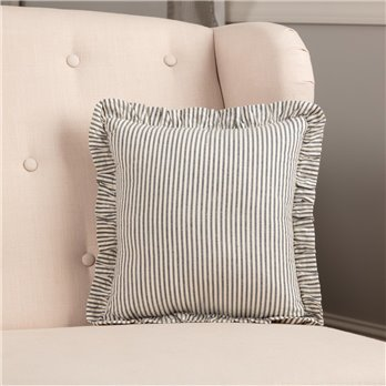 Hatteras Seersucker Blue Ticking Stripe Fabric Pillow 12x12