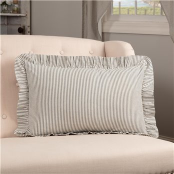 Hatteras Seersucker Blue Ticking Stripe Fabric Pillow 14x22