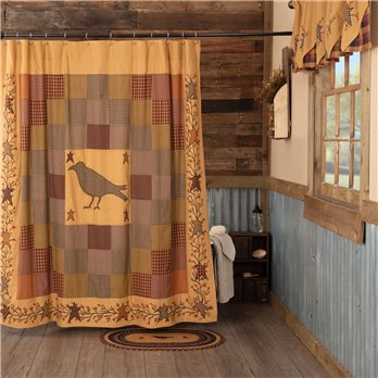 Heritage Farms Applique Crow and Star Shower Curtain 72x72