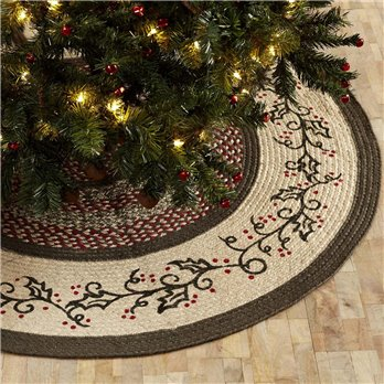 Holly Berry Jute Stencil Tree Skirt 48