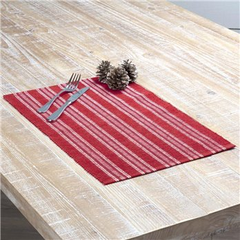 Holly Red Ribbed Placemat Set of 6 12x18