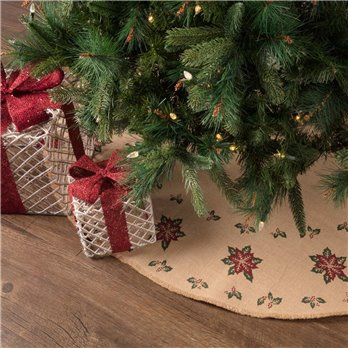 Jute Burlap Poinsettia Tree Skirt 48