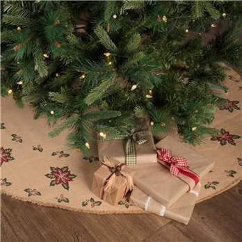 Jute Burlap Poinsettia Tree Skirt 60