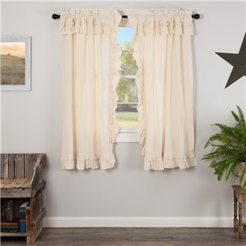 Muslin Ruffled Unbleached Natural Short Panel Set of 2 63x36