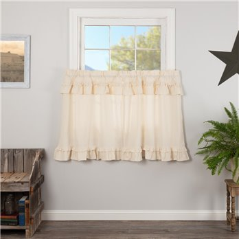 Muslin Ruffled Unbleached Natural Tier Set of 2 L36xW36